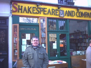 David outside the famous Shakespeare Bookshop in Paris
