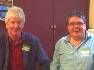 David with Kit Wright at the Oxfam recording session at the Museum Of Childhood in London