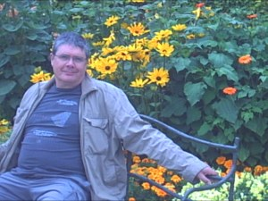 Me, sitting in the artist Monet's garden, enjoying the beautiful flowers!