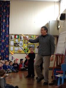 David at Pheonis Infants with a pirate next to him